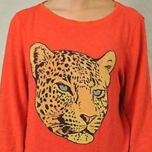 Wildfox Cheetah Cropped Sweatshirt Red Size Large